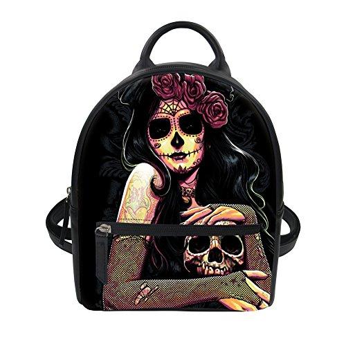 Cool Damen Rucksack Kleiner Rucksack Totenkopf Rose Blumen Skull PU Leder Rucksack Schultasche Casual Daypack Schulrucksäcke Stil1 EINE Size