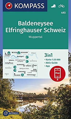 KOMPASS Wanderkarte Baldeneysee, Elfringhauser Schweiz, Wuppertal: 3in1 Wanderkarte 1:25000 mit Aktiv Guide inklusive Karte zur offline Verwendung in ... (KOMPASS-Wanderkarten, Band 493)
