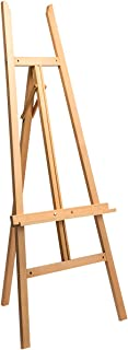 Marble Field Adjustable Wooden Tripod Easel Display Floor Easel,Adjustable Canvas Tray Height, Nature