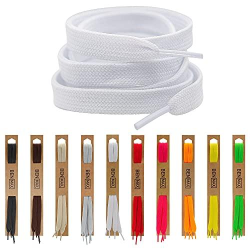 BENMAX SPORTS Schnürsenkel Weiß flach 2 Paar – Schuhbänder 10mm Breit Reißfeste Schnur für Sneaker, Arbeitsschuhe, Sportschuhe, Chucks, Laufschuhe, Bunt in 10 Farben 7 Größen (120 cm (2 Paar))
