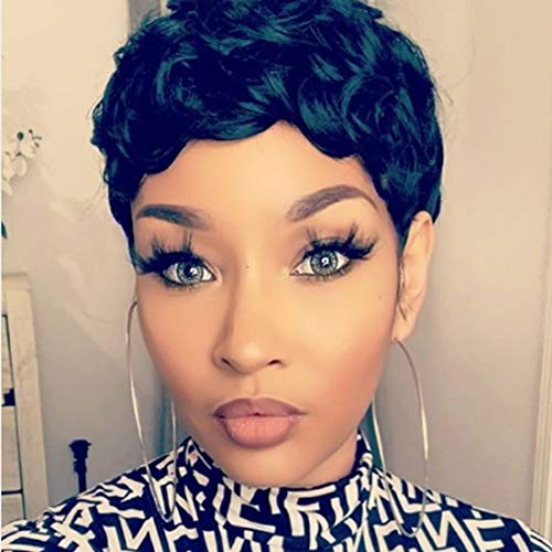 VCK Short Pixie Cut Wigs for Black Women Natural Wavy Synthetic Hair Wigs Short Layered Heat Resistant Wigs 1B Color