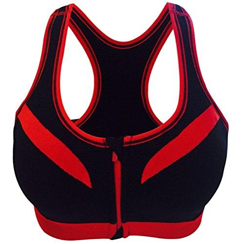 Cliont Front High Impact Femminile Zip Reggiseno Sportivo Spalline Larghe Supporto Push Up