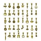 CALISTOUK Dijes para Bisutería, Manualidades DIY, 40 piezas Colgante Retro de Bisutería para Pulsera, Collar y Aretes, Regalos para Novias y Amigos (Dorado)