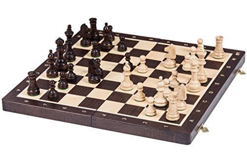 Square - Ajedrez de Madera Nº 4 - WENGE - Tablero de ajedrez + Staunton 4