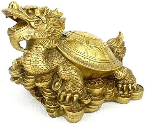 L.TSN Decoración del hogar Artesanía Feng Shui Chino Estatua de Tortuga dragón de Cobre Puro, Tortuga dragón se Sienta en la Estatua para Proteger la Riqueza, felicitación de in