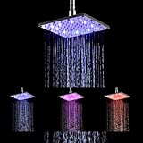 Ehauuo LED Shower Head 8 Inch Square All Chrome Water Temperature Controlled 3 Colors Lights Changing automatically Water Rainfall High-Pressure Bathroom Shower Head