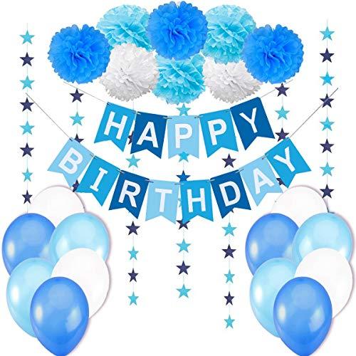 """Décoration Anniversaire Garcon Deco - 1 Banderole Bannière Joyeux Anniversaire """"Happy Birthday"""" + 8 Pompon Fleur + 6 metres Guirlande Etoiles+ 12 Ballons 30 cm Bleu Blanc Turquoise"""