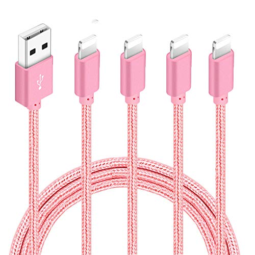 4 Pack (3ft,6ft,6ft,10ft) Nylon Braided Charging Cord Charger Compatible with PhoneX/8/8Plus 7/7 Plus/6s/6s Plus/6/6 Plus/5s/55se,Pad,Pod-Pink