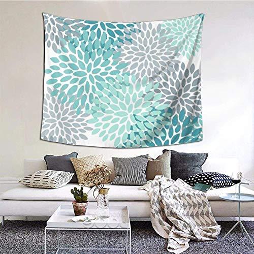 Tapiz para colgar en la pared, diseño floral, color azul turquesa y gris, 156 x 150 cm, para colgar en el dormitorio, sala de estar, decoración del hogar