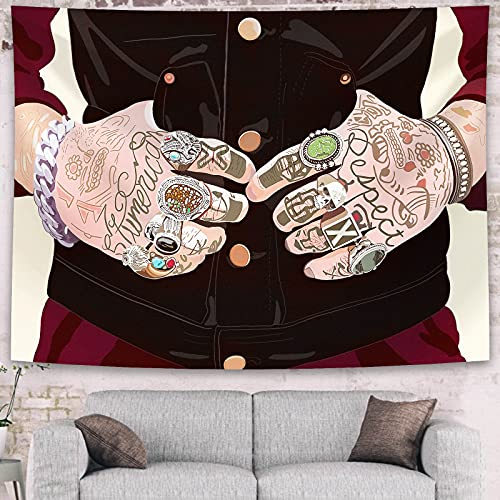 Cool Tattoo Rapper Tapestry, Men Room Decor Red and Black Tapestry for Wall Hanging Decor, Psychedelic Tapestry Bedroom Aesthetic Interesting Tapestries for Teenager Dorm, Room, Attic (70 x 90 inches)