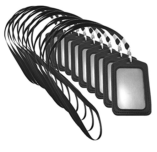yueton 10pcs Vertical Style Leather Business ID Badge Card Holder, Name Card Business Card Holder Tag with Long Neck Strap Band Lanyard (Black)