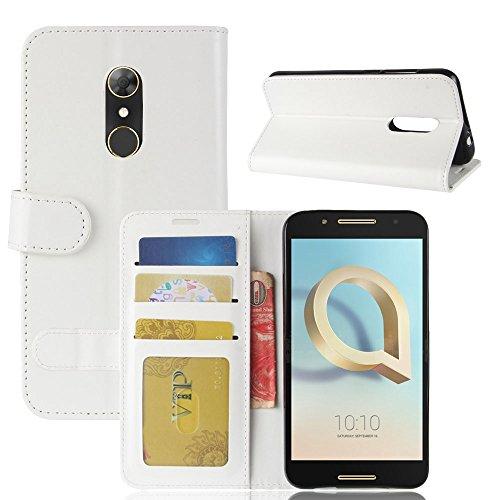 pinlu® Premium Geschäfts Art Luxus PU Leder Etui Schutzhülle Für Alcatel A7 Lederhülle Flip Hülle Brieftasche Mit Stand Function Innenschlitzen Design Weiß