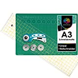 OfficeTree Set de Estera para Corte - 45x30 cm (A3) Verde + Cortador rotatorio + Regla 60 x 16 cm Trabajos de Corte Profesionales -