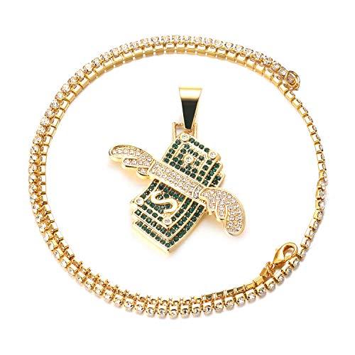 Halukakah Cadena de Oro para Hombre,Chapado en Oro Real de 18k Collar con Colgante de Dólar con Alas de Ángel Cz Completo Diamantes de Laboratorio con Cadena de Tenis Bebé 50cm Caja