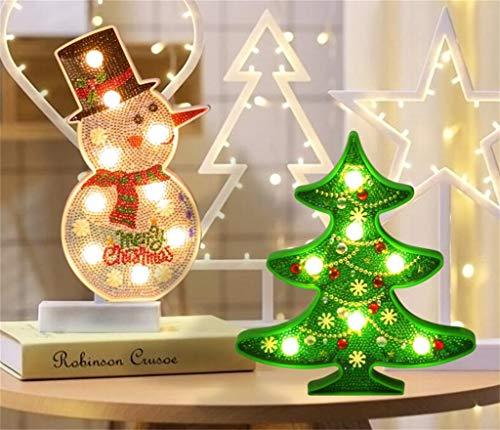 Z-HOMZYY diamant schilderset met LED nachtlampje Kerstmis 5d DIY diamant schilderij boren volledig kristal strass nacht lamp kunsthandwerk voor kerstboom Home Wall Decor Kerstmis tree en sneeuw.