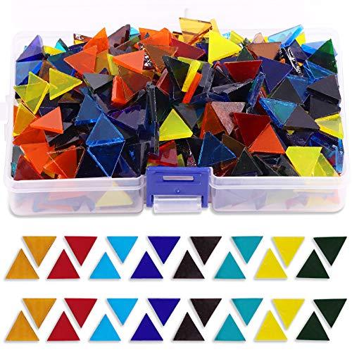 Rustark - Mosaico de colores y formas surtidos, 450 g, de cristal, transparente, con estuche de almacenamiento para decoración del hogar, hecho a mano (triángulo, cuadrado, rombo)