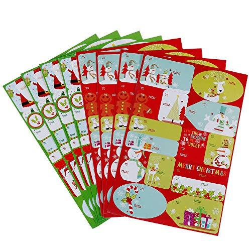 Faburo 120Pcs Etichette Decorative Adesivi Natalizi, Stickers Natalizi Etichette Chiudipacco Adesivi Natale Etichette Adesive Regalo Di Tag