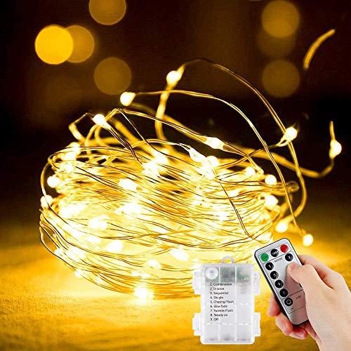 Cadena de Luces, [2 Pack] 12 m 120 LED, funciona con pilas, Impermeable Luces de Hadas para Interiores/Exteriores, para Decoración, Bodas, Cumpleaños,Fiestas, Navidad (Blanco cálido)