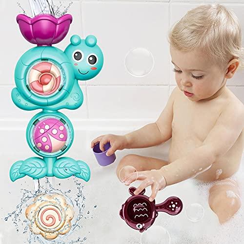 Juguetes de baño GRESAHOM, juguetes para bebés mayores de 12 , juguetes de regalo para niños pequeños con tazas, juego de juguetes de pared para baño con estación de cascada para fiestas en la piscina