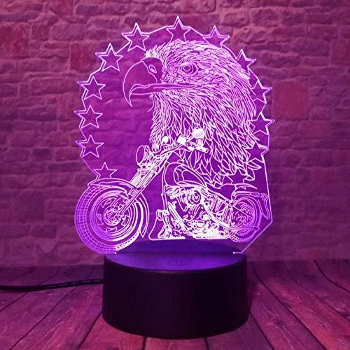 7 Farbverlauf USB Control Nachtlicht Acryl Adler und Motorrad 3D LED Lampe Kind Kinder Spielzeug Geburtstagsgeschenk garnieren