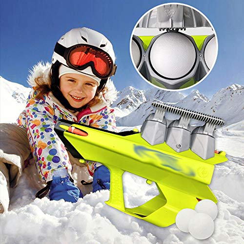 2-in-1 Snowball Blaster Gun,Snow Ball Shooter Snowball Maker and Launcher Gun Outdoor Winter Snow Fight Game Toys for Kids and Adults (Green)