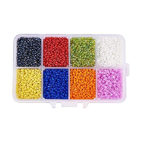 BIGBOBA. 12500pcs Cuentas Múltiples Colores de Mini 2mm Cuentas para Hacer Joyas de Bricolaje Collares Pulseras Regalo para Niños