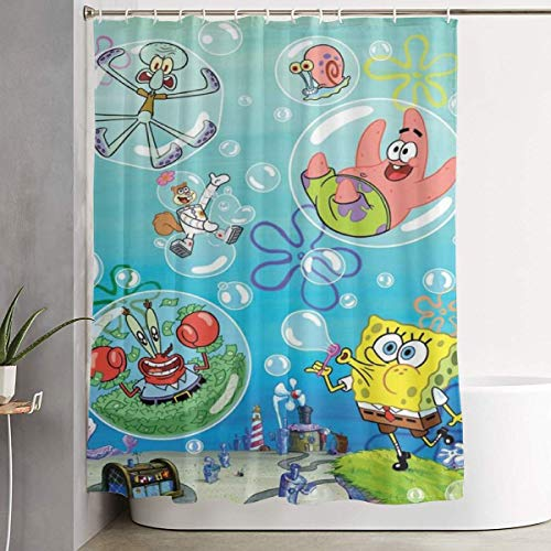 993 CCOVN Duschvorhang Spongebob and Piestar (2) Shower Curtain Decor for Men Women Boys Girls 60x72 in