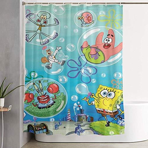 MILAIDI Duschvorhang Spongebob and Piestar (2) Shower Curtain Decor for Men Women Boys Girls 60x72 in