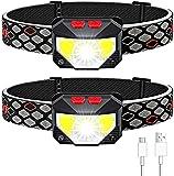 Avaspot Stirnlampe 2 Stück, 800 Lumens Super hell USB Wiederaufladbare LED Mini Kopflampe, 8 Modi Arbeit Stirnlampe, Stirnlampe LED Wasserdicht mit Bewegungs Sensor für Camping Angeln Joggen Fahrrad