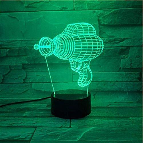 Lámpara de ilusión 3D Luz de noche Led Taladro Juego de roles 7 Cambio de color Decoración de dormitorio para niños Lámpara de mesa Regalo de Navidad Juguetes para niños