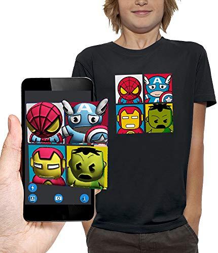 PIXEL EVOLUTION Camiseta 3D 4 Super Heroes en Realidad Aumentada Niño - tamaño 3/4 años - Negro