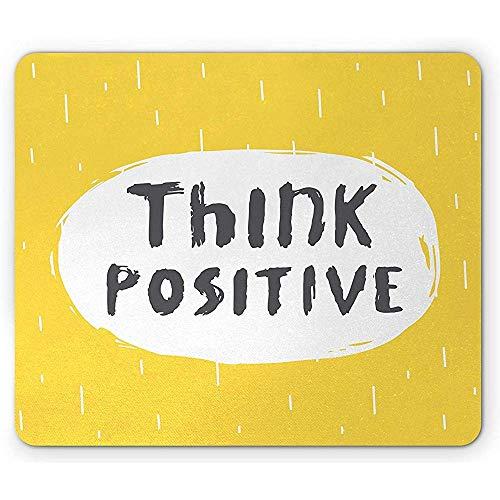 Mouse Pad Zitat-Mausunterlage Inspirierende Skizzen-Blase Denken Positive Mitteilung Auf Regnerischem Hintergrund-Gummimousepad Schwarz-Weiß Und Senf 25X30Cm