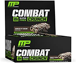 MusclePharm Combat Crunch Protein Bar, Multi-Layered Baked Bar, Gluten-Free Bars, 20 g Protein, Low-Sugar, Low-Carb, Gluten-Free, Cookies 'N' Cream Bars, 12 Servings