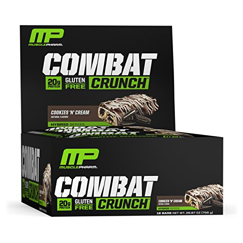 MusclePharm Combat Crunch Protein Bar, 20g Protein, Cookies 'N' Cream Bars, 12 Count (packaging may vary)
