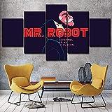 Yywife Elliot Alderson Programa de televisión Mr.Robot Cuadros Decoracion Salon Modernos 5 Piezas...