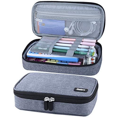 Pencil Case, Big Capacity Pen Case Pencil Bag Pouch Pen Pencil Marker Holder Box Stationery Organizer Cosmetic Makeup Bag with Large Storage for Teen Boys Girls College School Supplies & Office - Gray