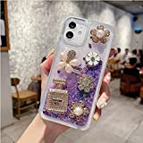 Flash Sand Soft Anti-Fall Phone Case para iPhone 12 11 Mini Pro MAX XS MAX XR X 7 8 Plus SE Linda Botella de Perfume con Diamantes de imitación para Mujer-A3_iPhoneXsMax