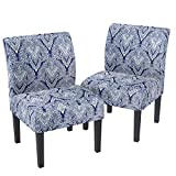 mecor Modern Armless Accent Chairs Set of 2, Upholstered Fabric Dining Chairs w/Solid Wood Legs for Dining Living Room Sofa (Sapphire)