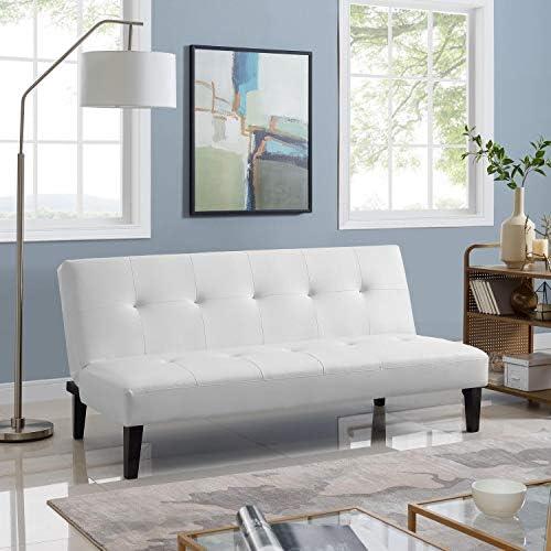 Naomi Home Button Tufted Futon Sofa Bed White product image