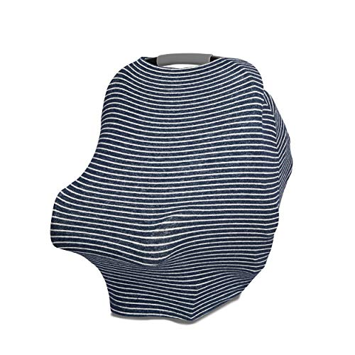 aden + anais Snuggle Knit 6-in-1 Stretchy Multi-Use Cover for Car Seat, Nursing, Cart, Baby Swing, High Chair, Infinity Scarf, Navy Stripe