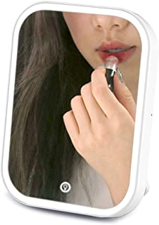 PRITECH Makeup Mirror with LED Lighted/Natural Daylight with Touch Screen Dimming portable and high definition mirror.