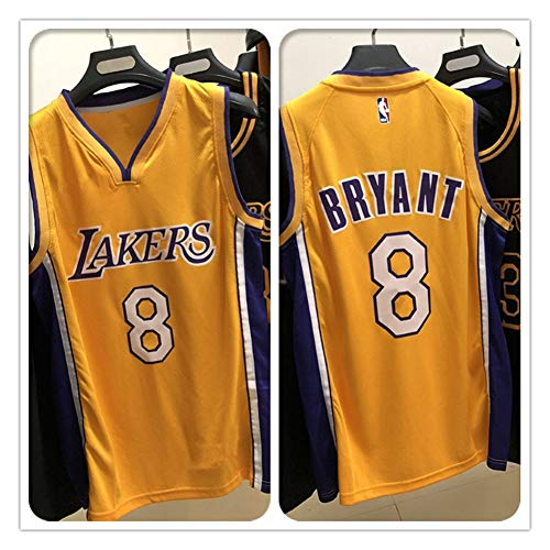 Kobe # 8 Lakers Basketball Jersey Man Swingman Jersey Shirt, Hot Pressing # 8 V-Neck Regular Jaune-S (165~173)