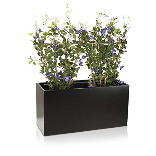 Pflanztrog Blumentrog VISIO Fiberglas Blumenkübel - Farbe: schwarz matt - großer wetter- und winterfester Pflanzkübel für Innen & Außen - TÜV-geprüfte Qualität