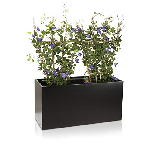 Maceta jardinera VISIO fibra de vidrio macetero - color: negro mate - maceta grande resistente a las...