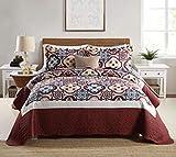 Qucover Jacquard Paisley Bedding Set 3-Piece Floral Printed Quilts Set Queen Size