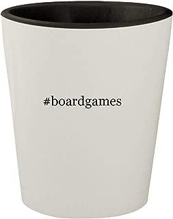 #boardgames - White Outer & Black Inner Hashtag Ceramic 1.5oz Shot Glass