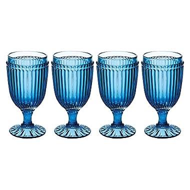 Mikasa Italian Countryside Iced Beverage Glass, Blue, 13-Ounce, Set of 4