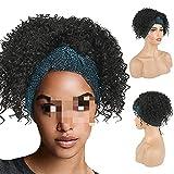 XXYHYQHJD Trazado de la Cabeza de la Cabeza Sintética Synthetic Kinky Curly Turban Wrap Wig 2IN1 Afro Puff Deedband Wig para African Pelucas para Mujer (Color : Negro, Size : 12inches)