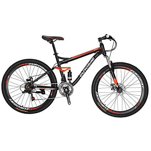 Eurobike HYS7 Bikes 27.5 Inches Muti Spoke Wheels Mountain Bike 21 Speed Dual Suspension Bicycle Black Orange
