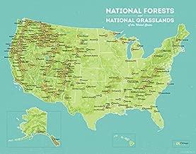 US National Forests Map 11x14 Print (Green & Aqua)